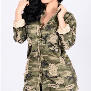 Fashion Nova Camouflage Distressed Jacket Size M